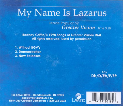 My Name Is Lazarus, Accompaniment CD
