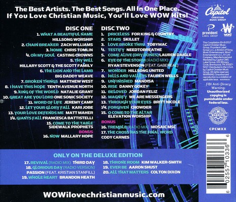 wow hits 2017 deluxe edition song list