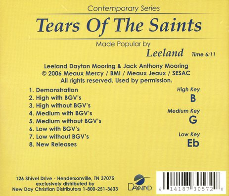 Tears of the Saints, Accompaniment CD