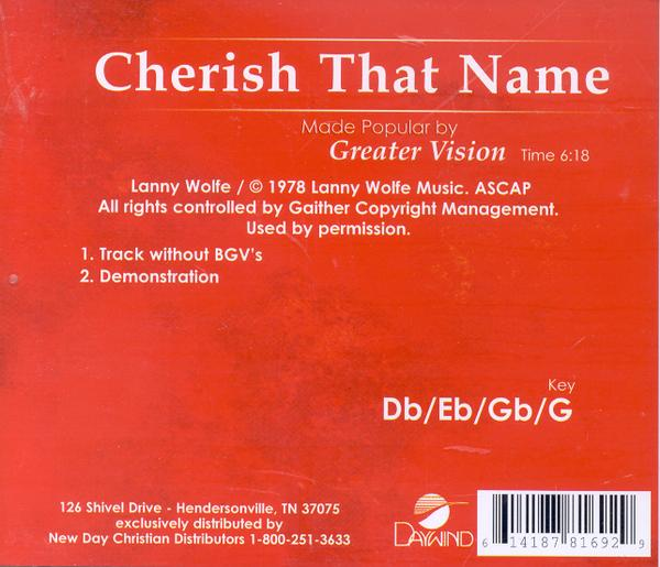 Cherish That Name, Accompaniment CD