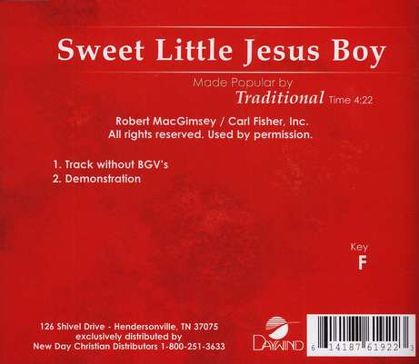 Sweet Little Jesus Boy, Accompaniment CD