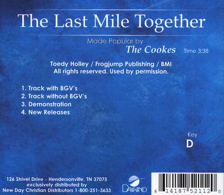 The Last Mile Together, Accompaniment CD