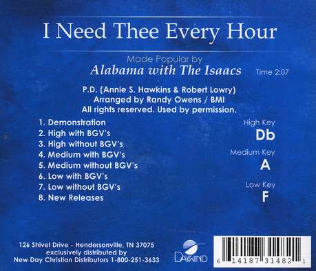 I Need Thee Every Hour, Accompaniment CD