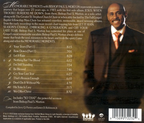 Memorable Moments with Bishop Paul S. Morton CD