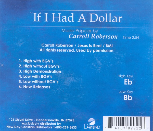 If I Had A Dollar, Accompaniment CD