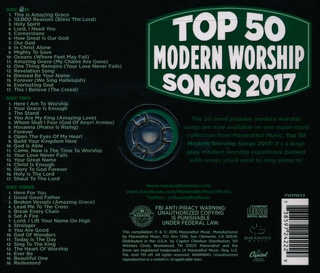 Top 50 Modern Worship Songs, 2017 Edition
