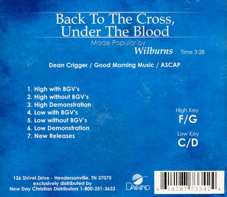 Back To The Cross, Under The Blood, Accompaniment CD