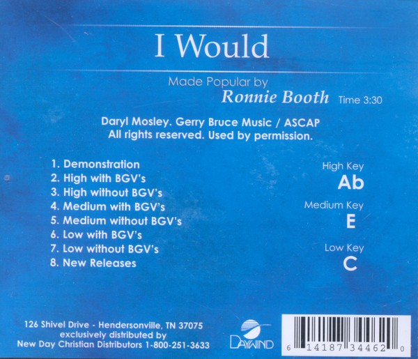 I Would, Accompaniment CD
