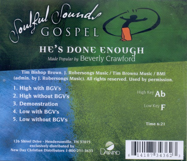 He's Done Enough, Accompaniment CD