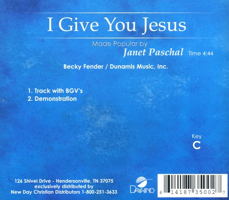 I Give You Jesus, Acc CD
