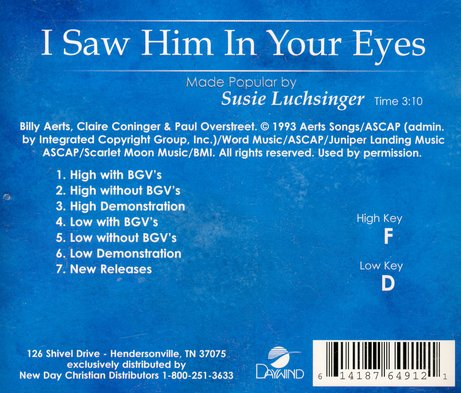 I Saw Him In Your Eyes, Accompaniment CD