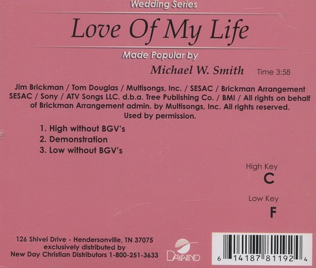 Love Of My Life, Accompaniment CD