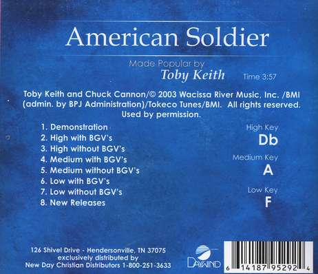 American Soldier, Accompaniment CD