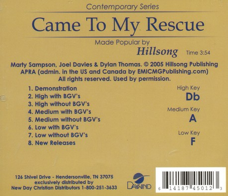 Come to My Rescue, Acc CD