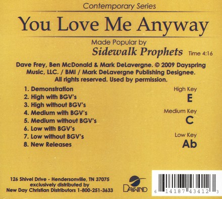 You Love Me Anyway, Acc CD
