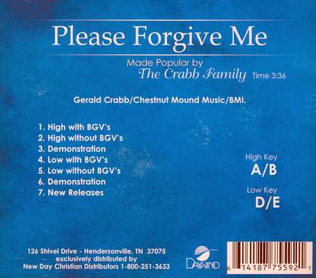 Please Forgive Me, Accompaniment CD