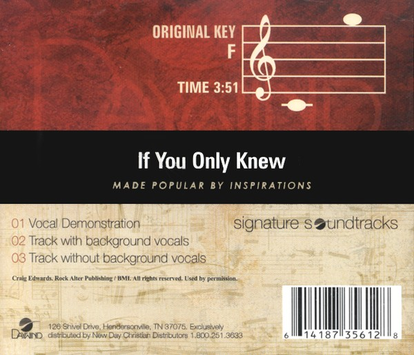 If You Only Knew, Accompaniment CD