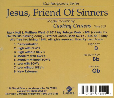 Jesus, Friend of Sinners, Acc CD