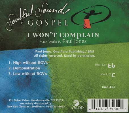 I Won't Complain, Accompaniment CD
