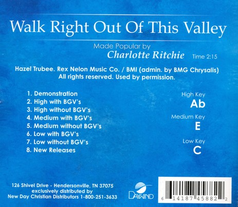 Walk Right Out of this Valley Acc, CD
