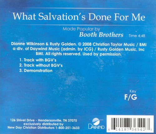 What Salvation's Done For Me, Acc CD