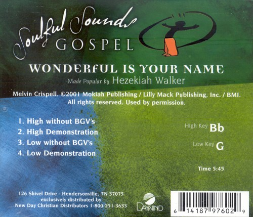 Wonderful Is Your Name, Accompaniment CD