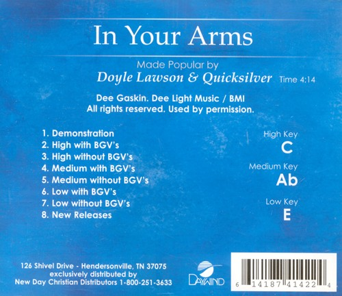 In Your Arms, Accompaniment CD