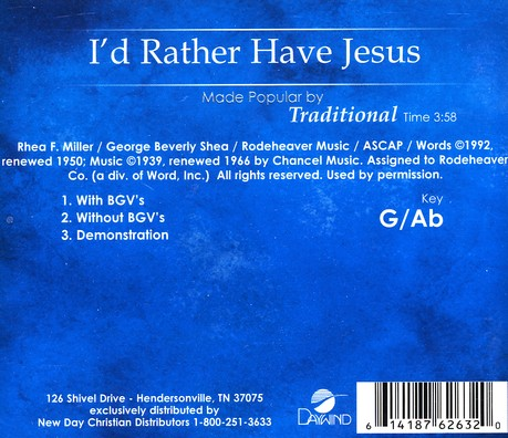 I'd Rather Have Jesus, Accompaniment CD