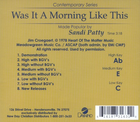 Was It A Morning Like This, Accompaniment CD