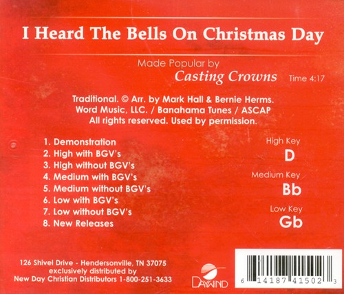 Casting Crowns I Heard The Bells On Christmas Day.I Heard The Bells On Christmas Day Accompaniment Cd