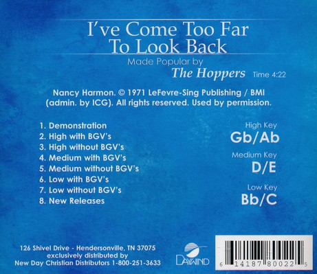 I've Come too Far to Look Back, Acc CD