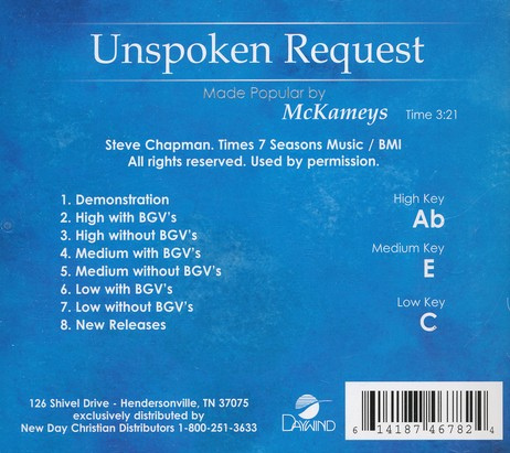 Unspoken Request Acc, CD