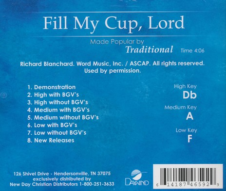 Fill My Cup, Lord, Acc CD
