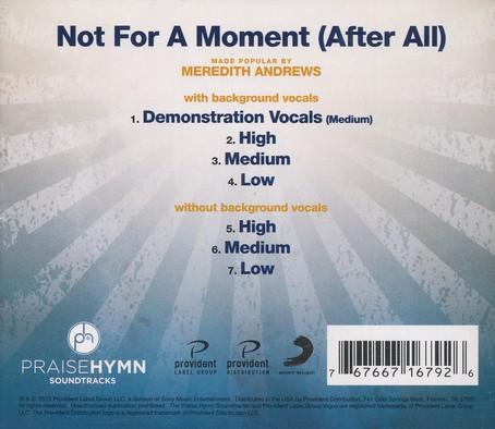 Not For a Moment (After All), Acc CD