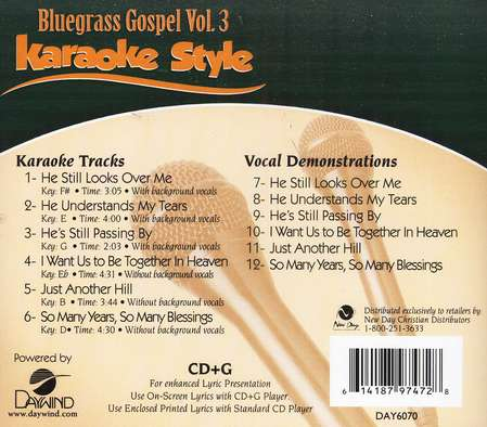 Bluegrass Gospel, Vol. 3, Karaoke CD