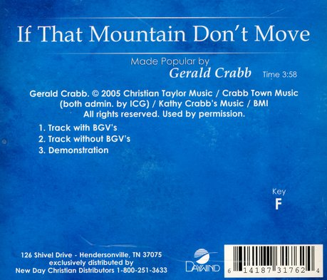 If That Mountain Don't Move, Accompaniment CD