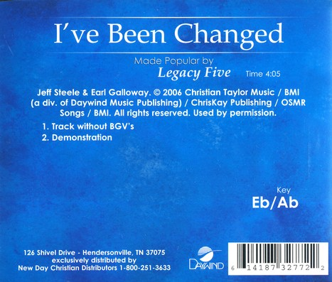 I've Been Changed, Accompaniment CD