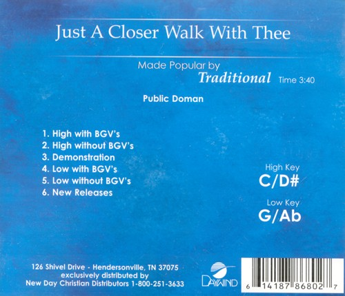 Just a Closer Walk with Thee, Acc CD