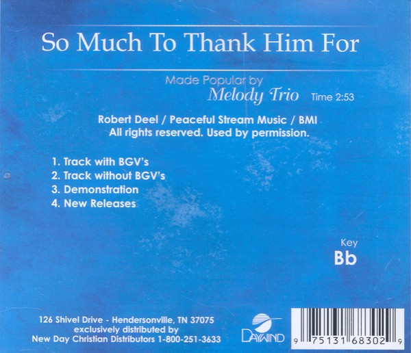 So Much To Thank Him For, Accompaniment CD