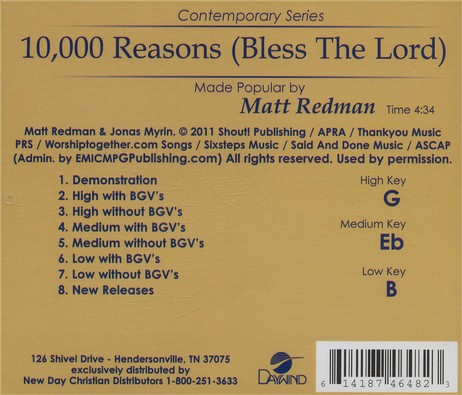 10,000 Reasons (Bless the Lord), Acc CD