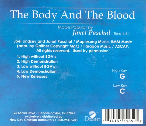 The Body And The Blood, Accompaniment CD