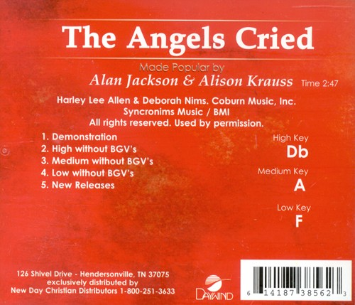 The Angels Cried, Accompaniment CD