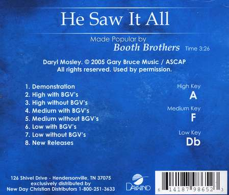 He Saw it All, Acc CD