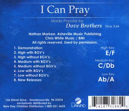 I Can Pray, Accompaniment CD
