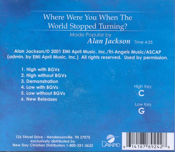 Where Were You When the World Stopped Turning, Accompaniment CD