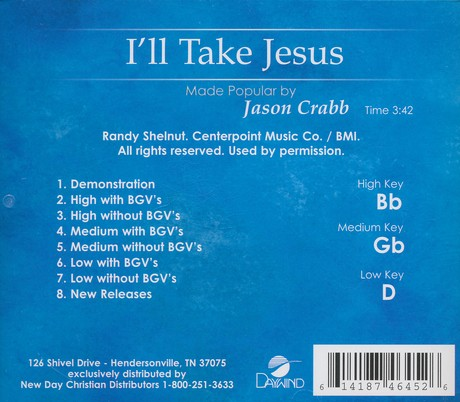 I'll Take Jesus, Acc CD