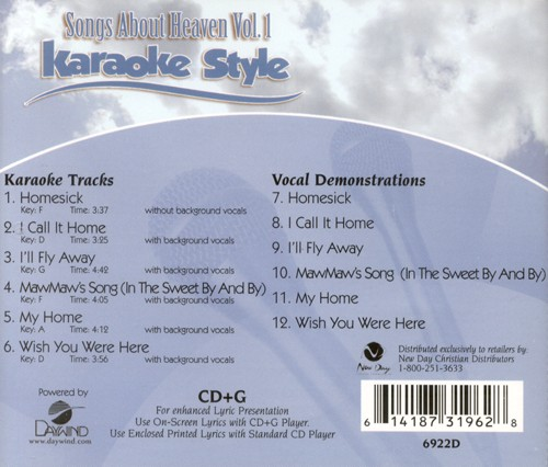 Songs About Heaven, Volume 1, Karaoke Style CD
