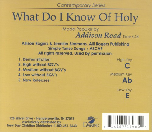 What Do I Know Of Holy, Accompaniment CD