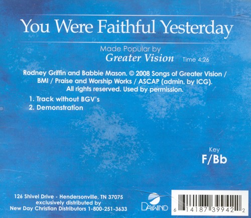You Were Faithful Yesterday, Acc CD