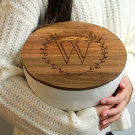 Bowl with Monogrammed Wood Lid